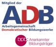 Logo: Zentralstelle Arbeitsgemeinschaft Demokratischer Bildungswerke / Anerkannter Bildungsträger der bpb
