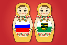 Russische und Sächsische Matrjoschkas