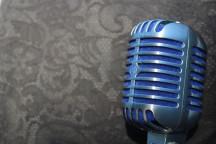 Mikrofon vor Blümchentapete